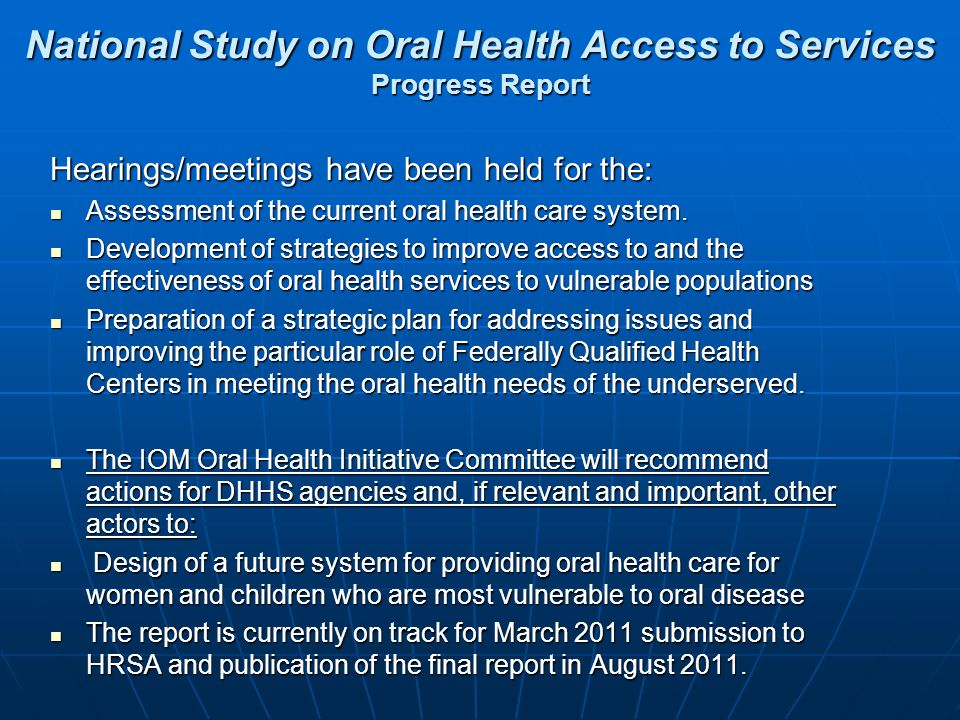 National Study on Oral Health Access to Services Progress Report