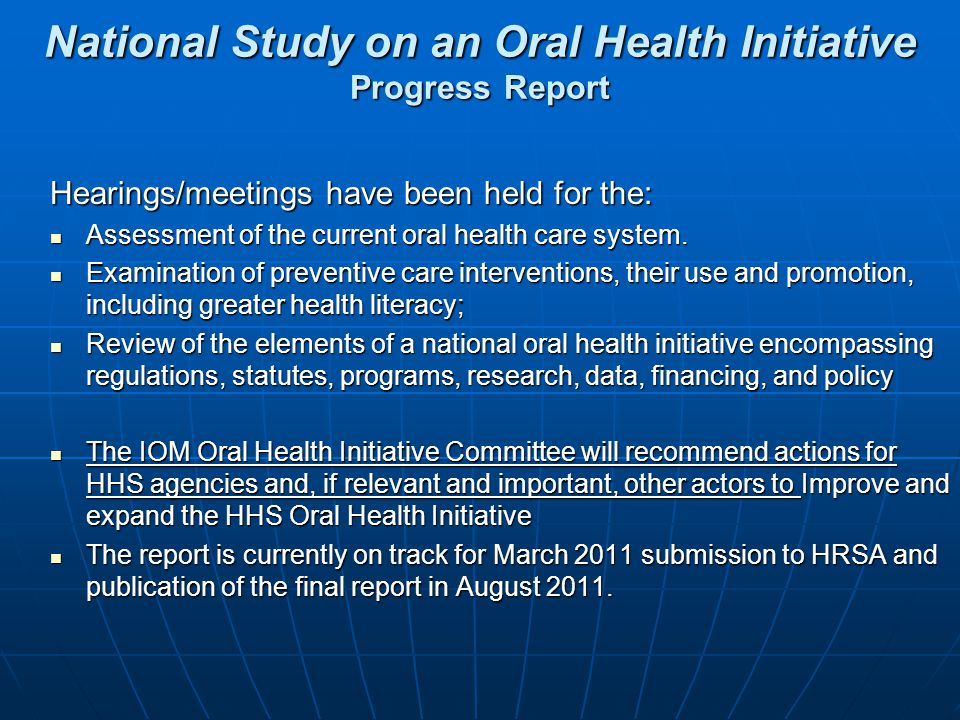 National Study on an Oral Health Initiative Progress Report