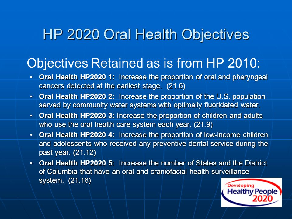HP 2020 Oral Health Objectives