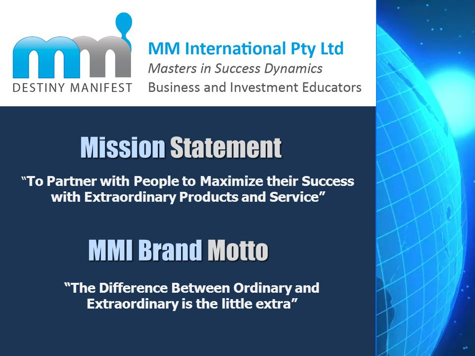 Mission Statement MMI Brand Motto
