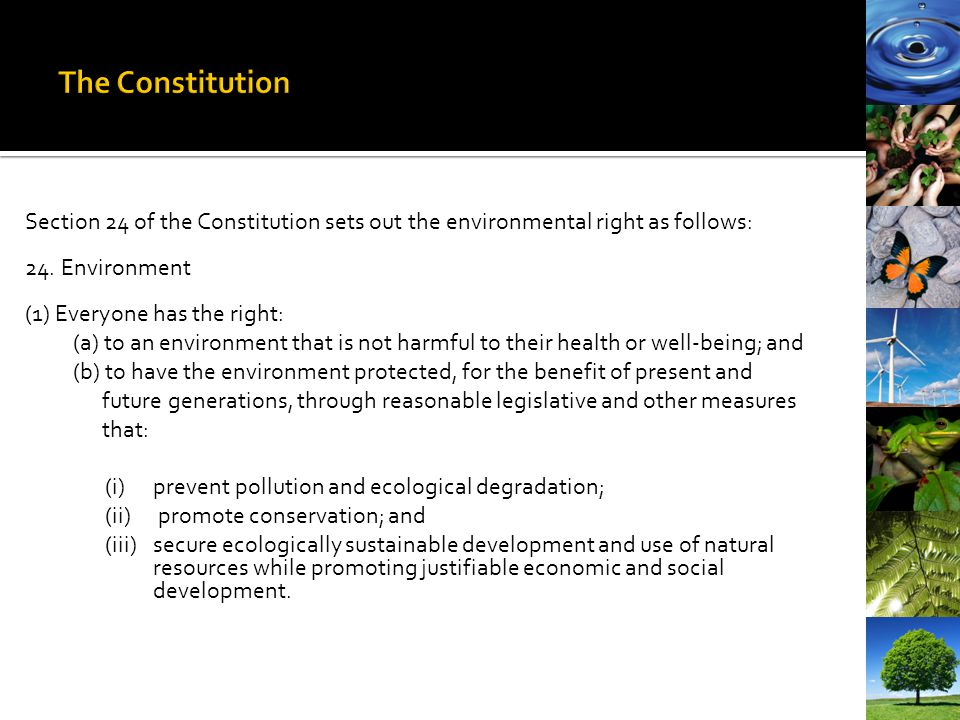 The Constitution Section 24 of the Constitution sets out the environmental right as follows: 24. Environment.