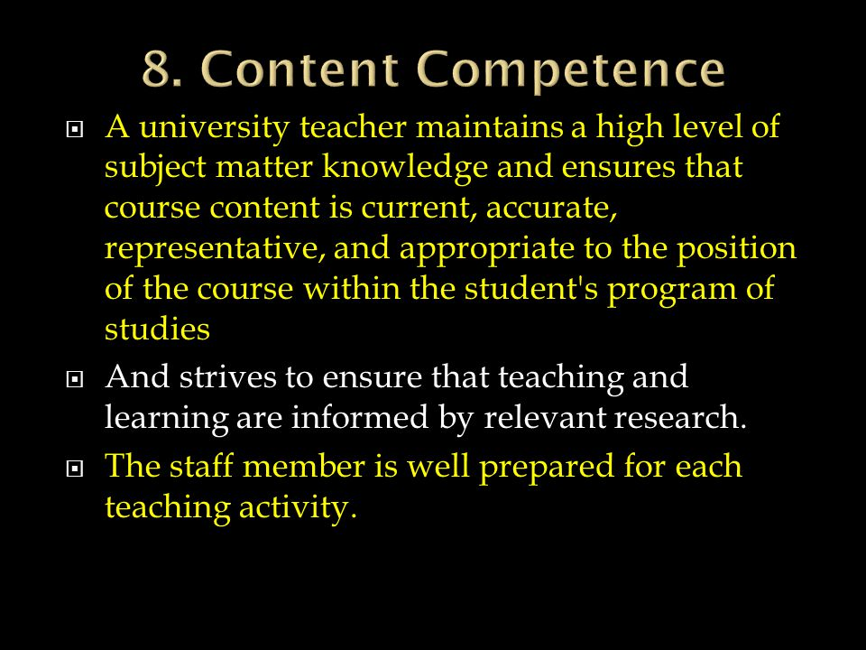 8. Content Competence