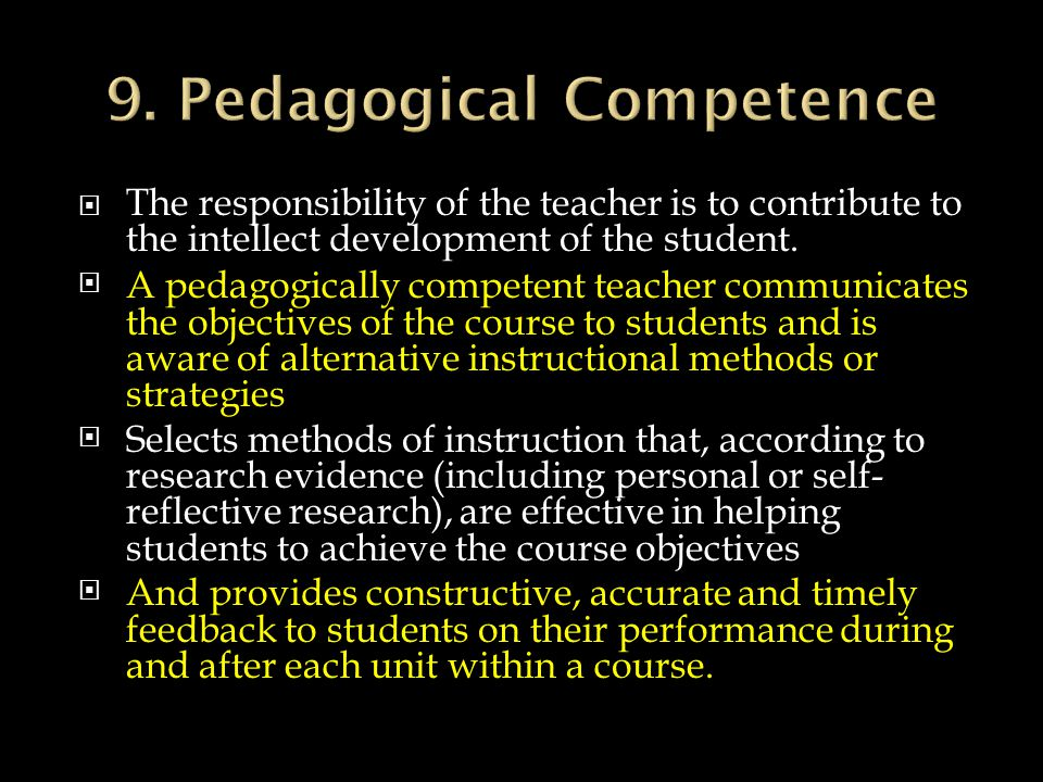 9. Pedagogical Competence