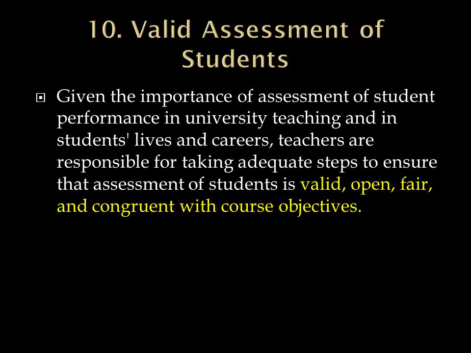10. Valid Assessment of Students