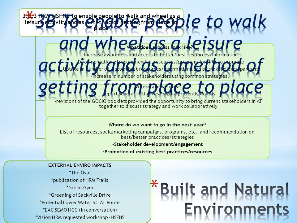 3.B.3 HRM HSFNS To enable people to walk and wheel as a leisure activity and as a method of getting from place to place
