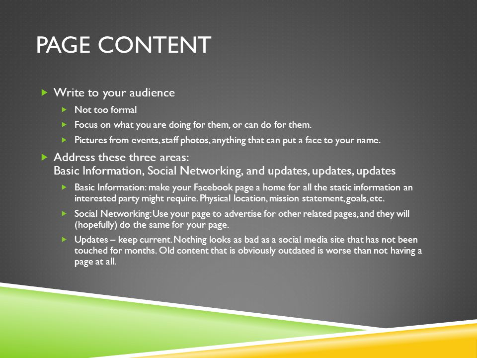 Page Content Write to your audience