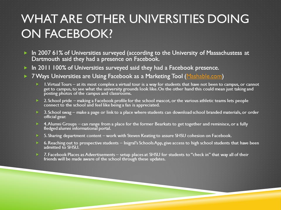 What are other universities doing on facebook