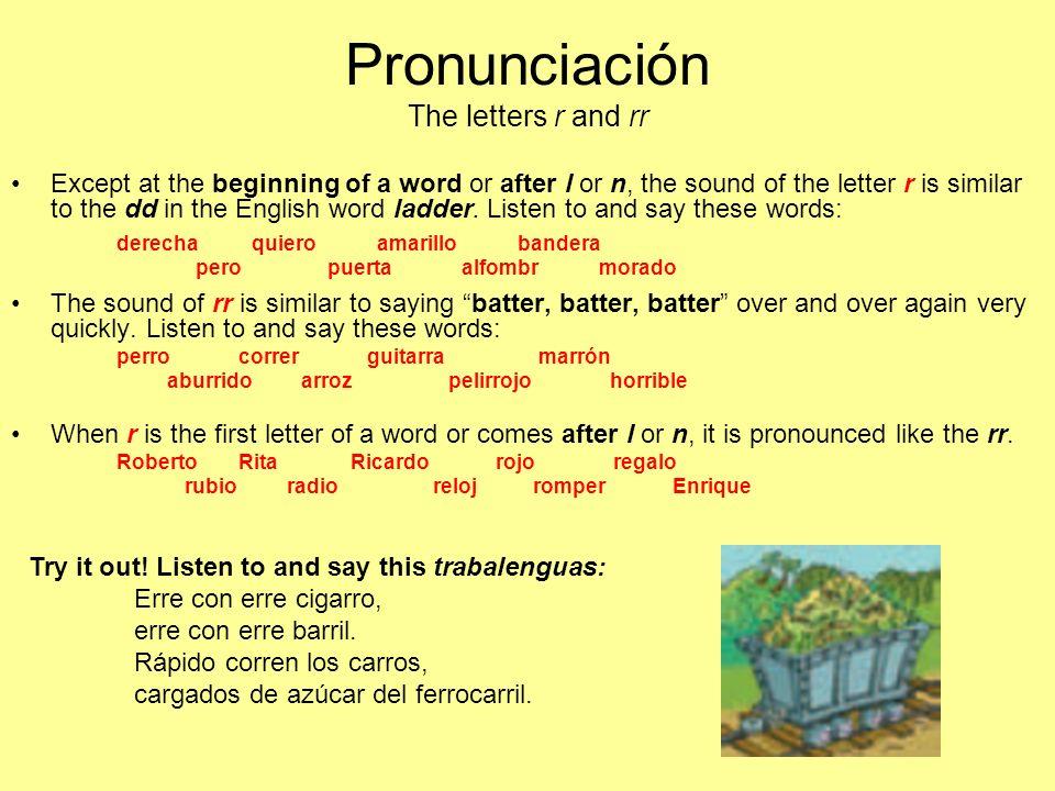 Pronunciación The letters r and rr