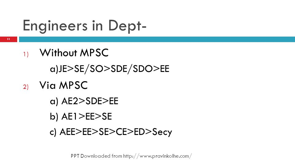 Engineers in Dept- Without MPSC Via MPSC