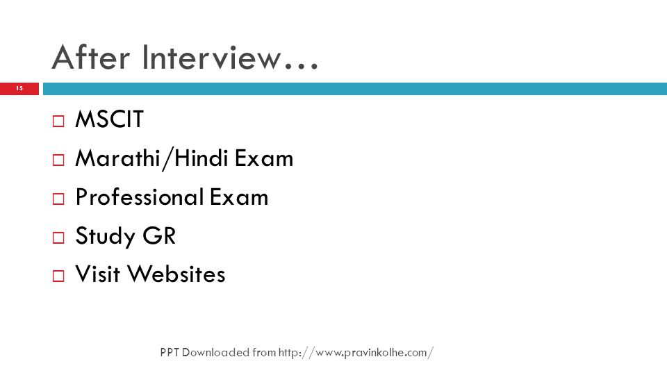 After Interview… MSCIT Marathi/Hindi Exam Professional Exam Study GR