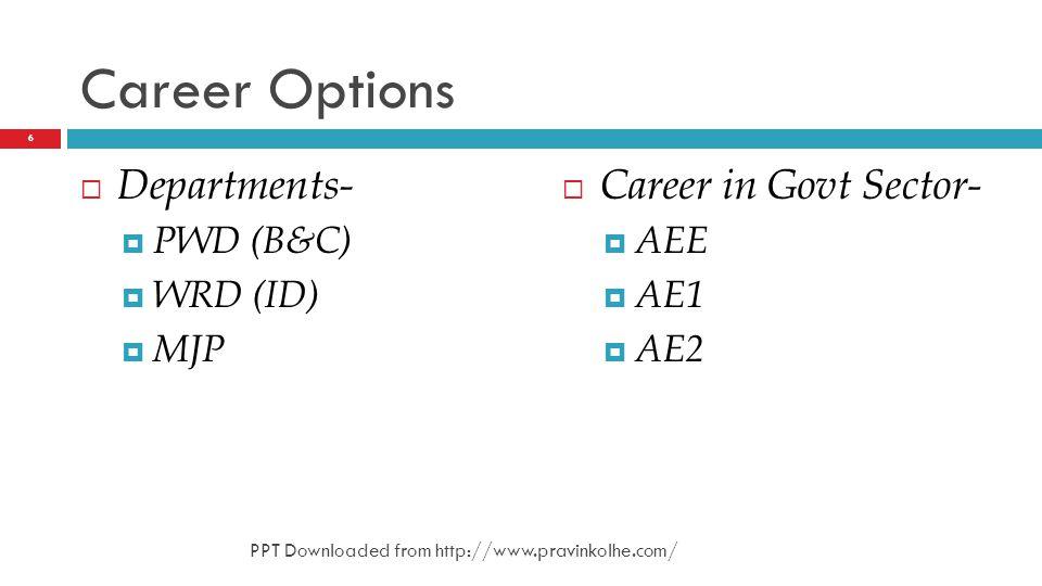 Career Options Departments- Career in Govt Sector- PWD (B&C) AEE