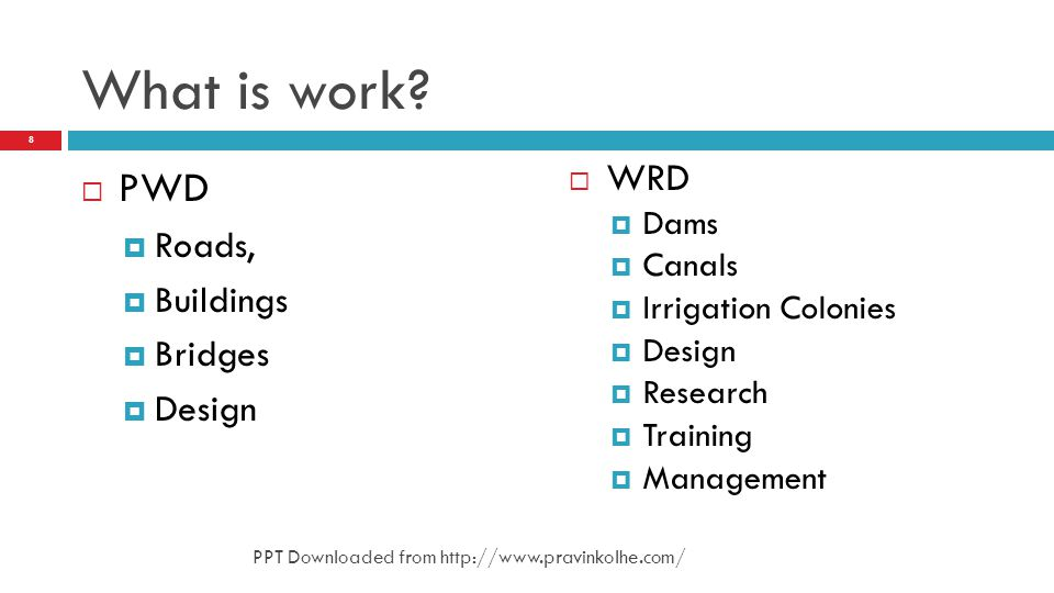 What is work PWD WRD Roads, Buildings Bridges Design Dams Canals