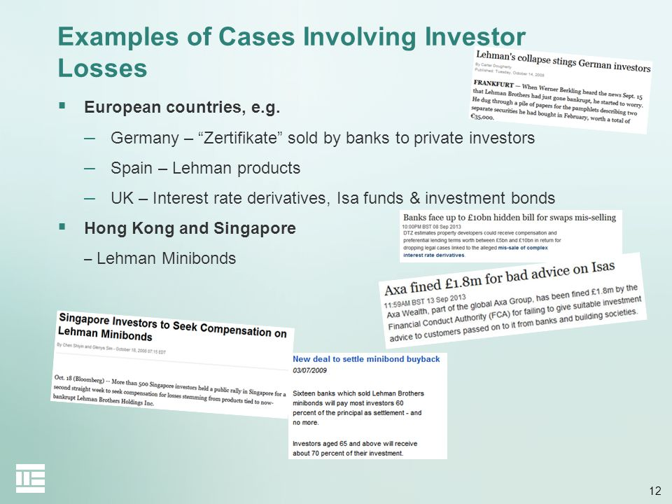 Examples of Cases Involving Investor Losses