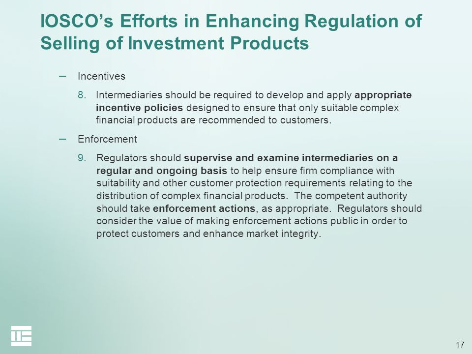 IOSCO's Efforts in Enhancing Regulation of Selling of Investment Products