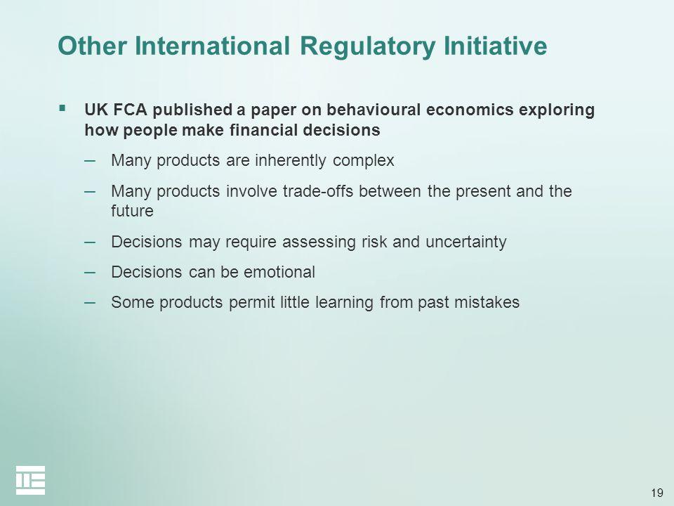 Other International Regulatory Initiative
