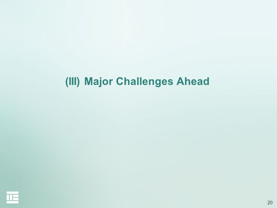(III) Major Challenges Ahead