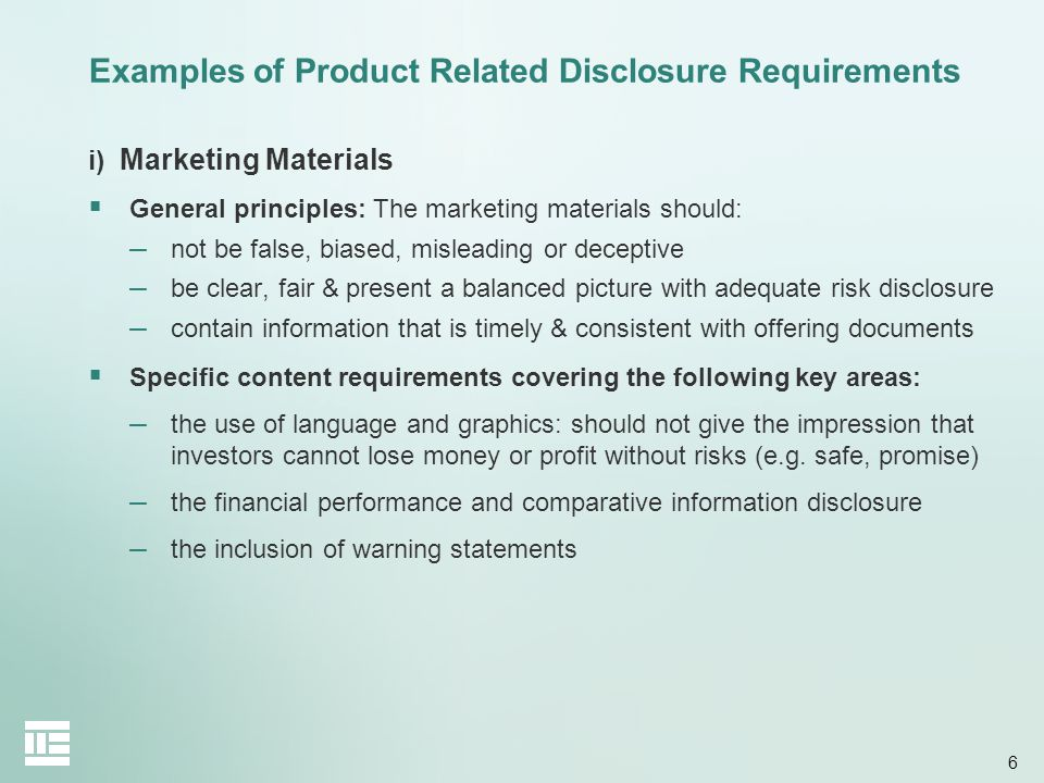 Examples of Product Related Disclosure Requirements