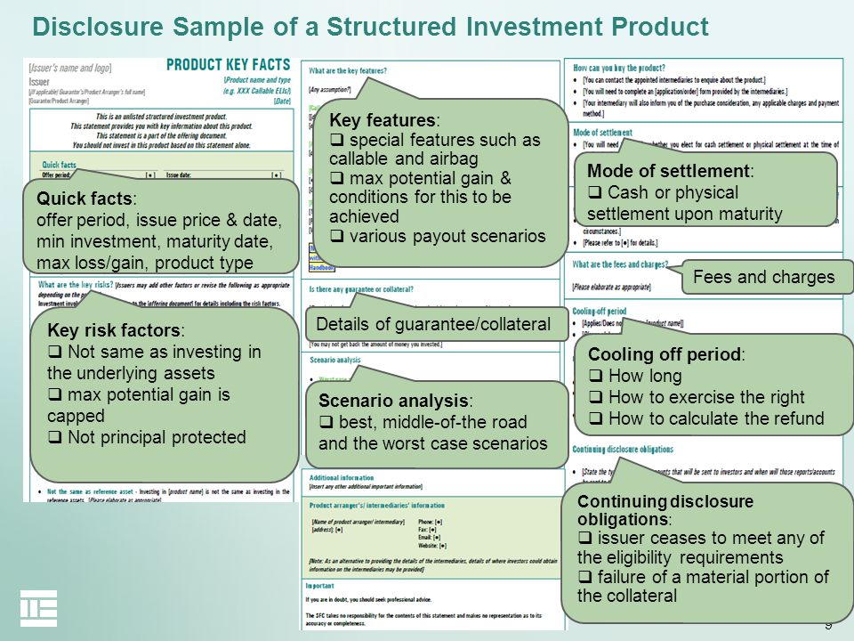 Disclosure Sample of a Structured Investment Product