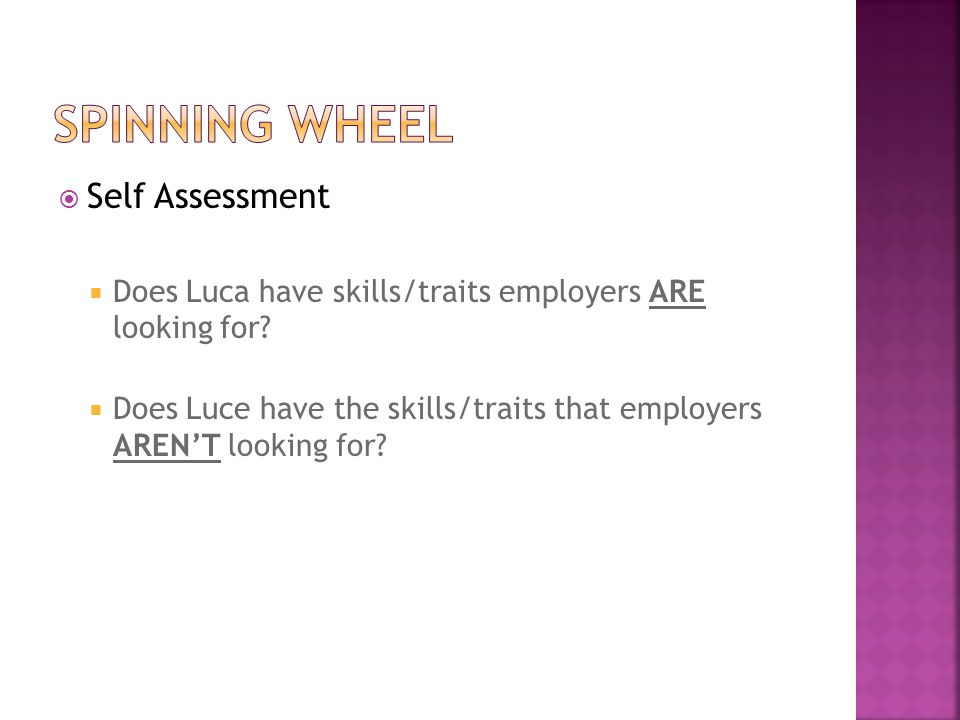 Spinning wheel Self Assessment