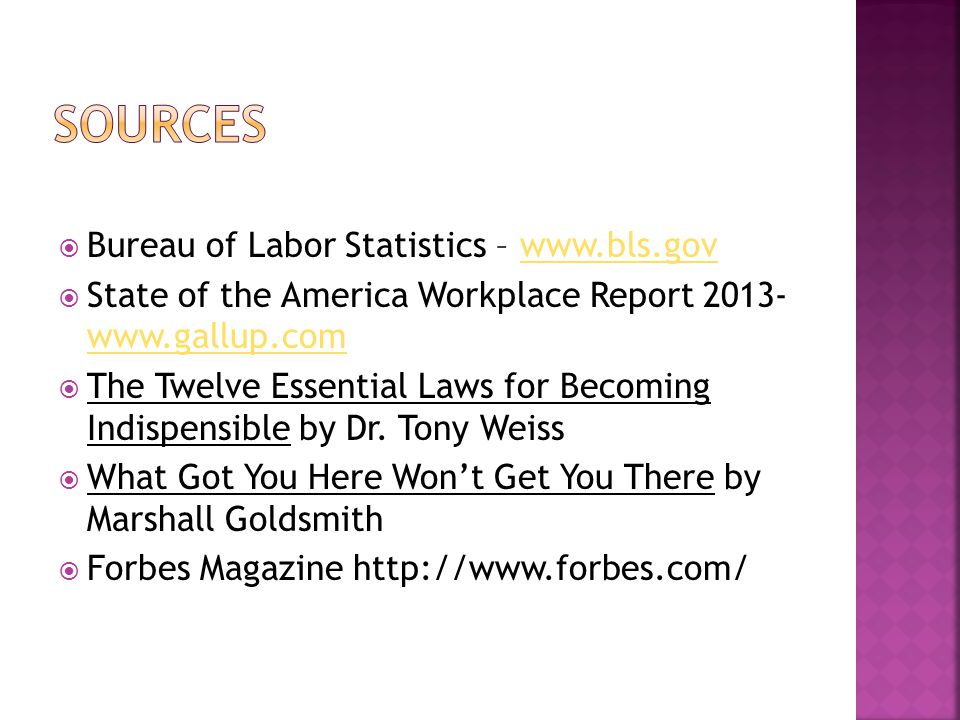 Sources Bureau of Labor Statistics – www.bls.gov