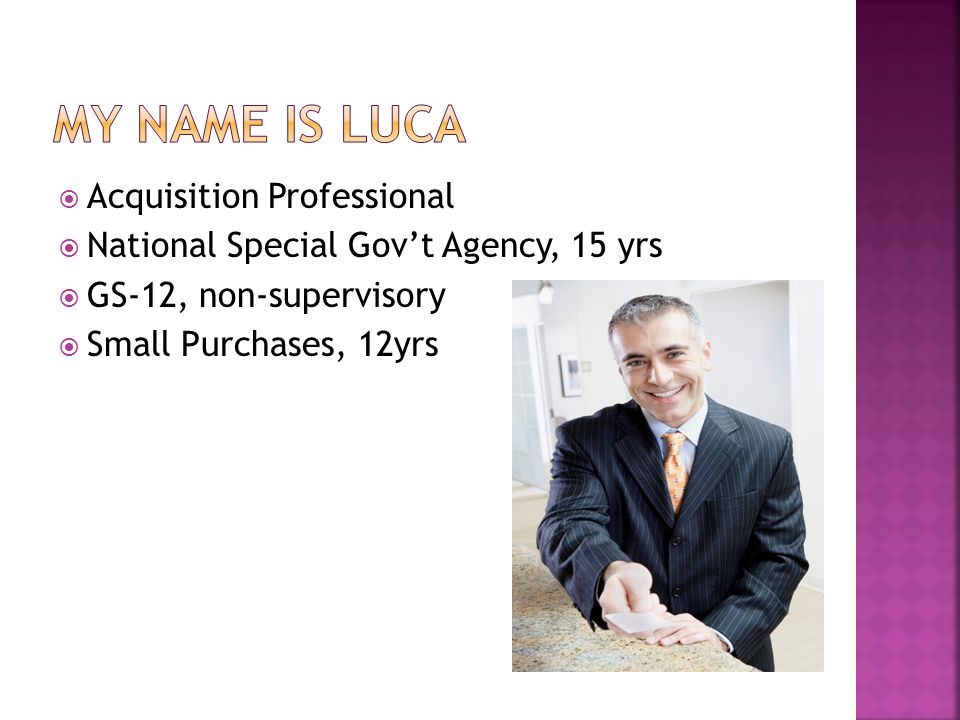 My name is luca Acquisition Professional