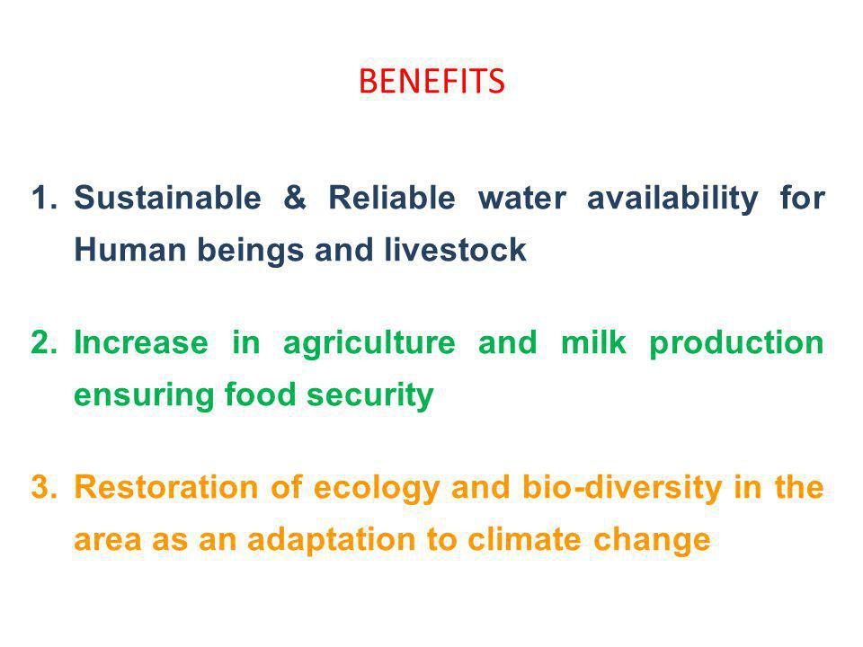 BENEFITS Sustainable & Reliable water availability for Human beings and livestock.