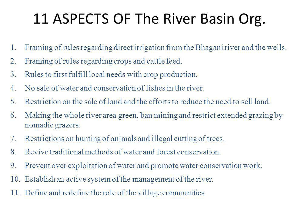 11 ASPECTS OF The River Basin Org.