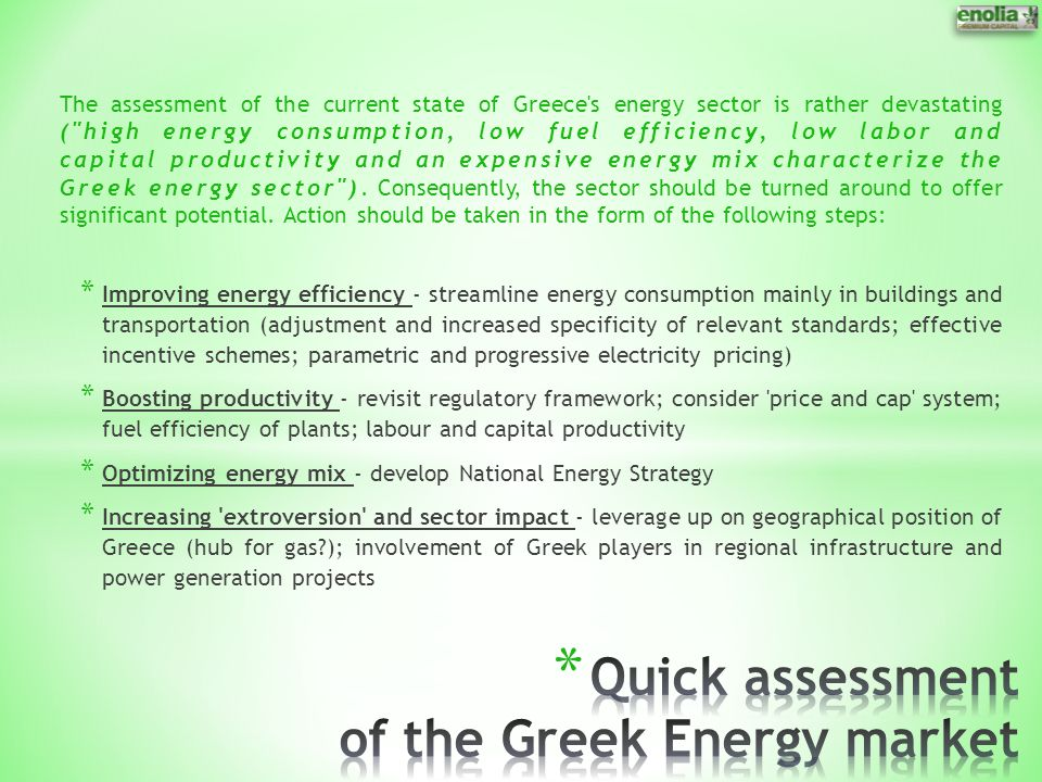 Quick assessment of the Greek Energy market