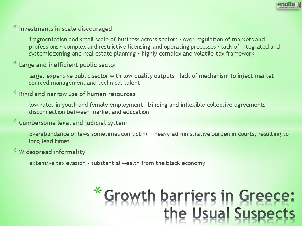 Growth barriers in Greece: the Usual Suspects