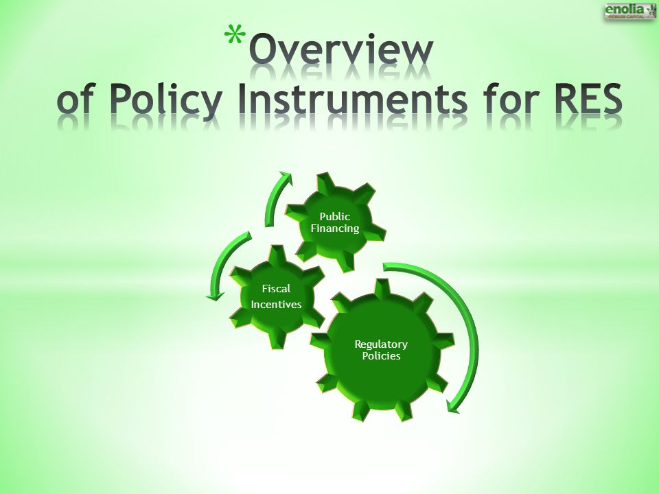 Overview of Policy Instruments for RES