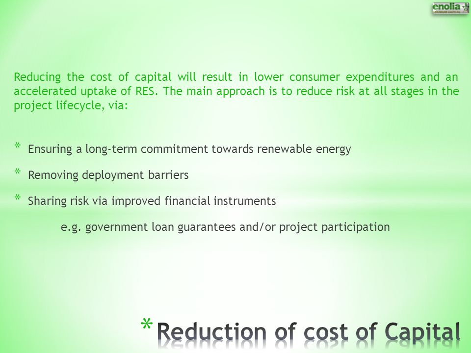 Reduction of cost of Capital