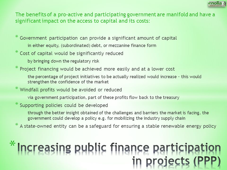 Increasing public finance participation in projects (PPP)