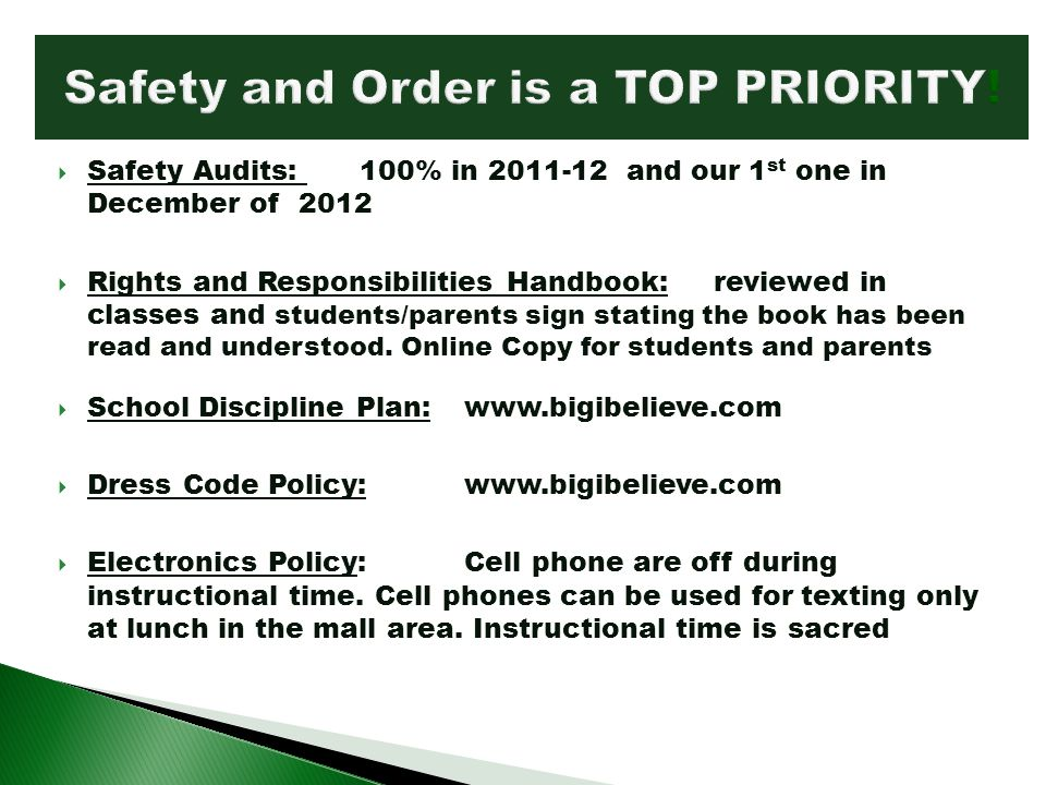 Safety and Order is a TOP PRIORITY!