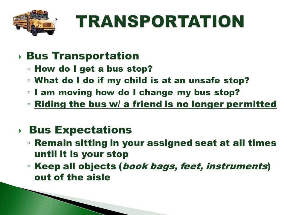 TRANSPORTATION Bus Transportation Bus Expectations