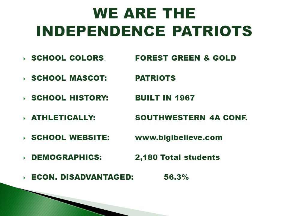 WE ARE THE INDEPENDENCE PATRIOTS