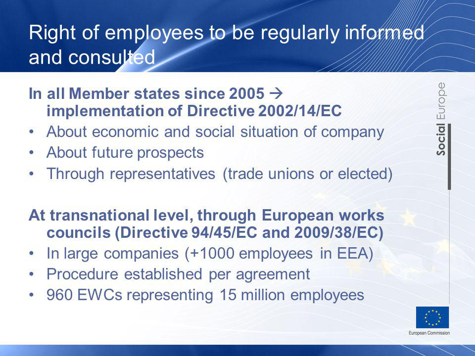 Right of employees to be regularly informed and consulted