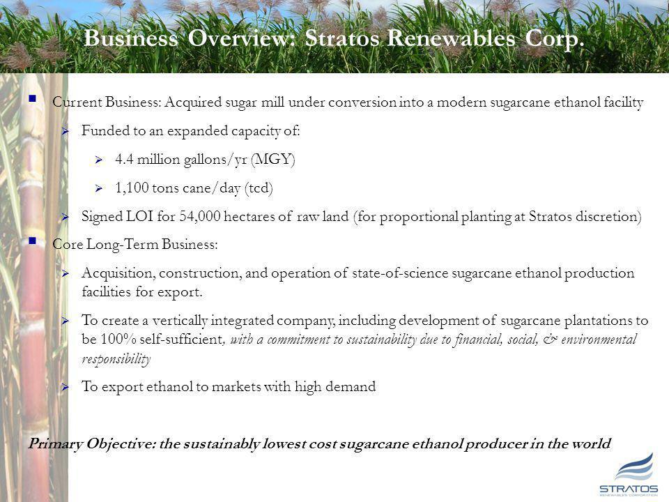 Corporate Overview Stratos Renewables Corp. (ticker: SRNW) Financings: