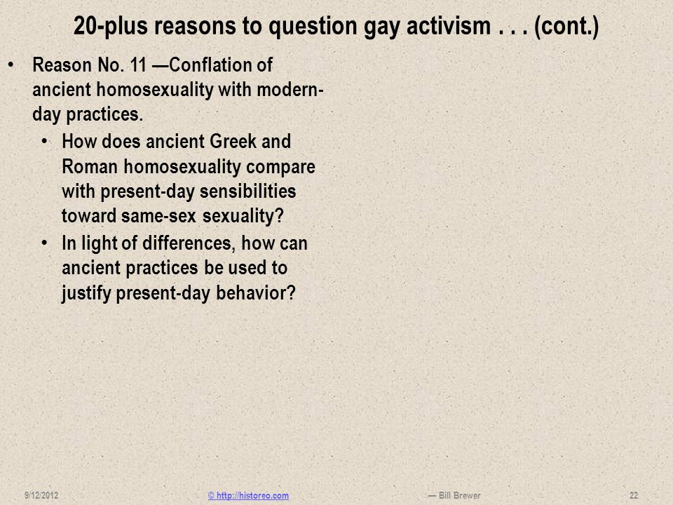20-plus reasons to question gay activism . . . (cont.)