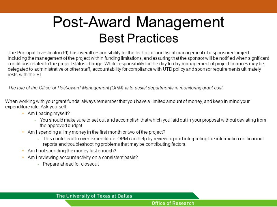 Post-Award Management Best Practices