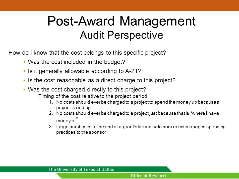 Post-Award Management Audit Perspective