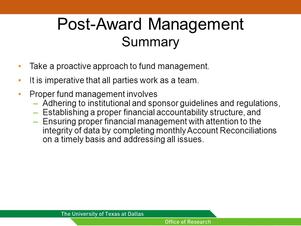 Post-Award Management Summary