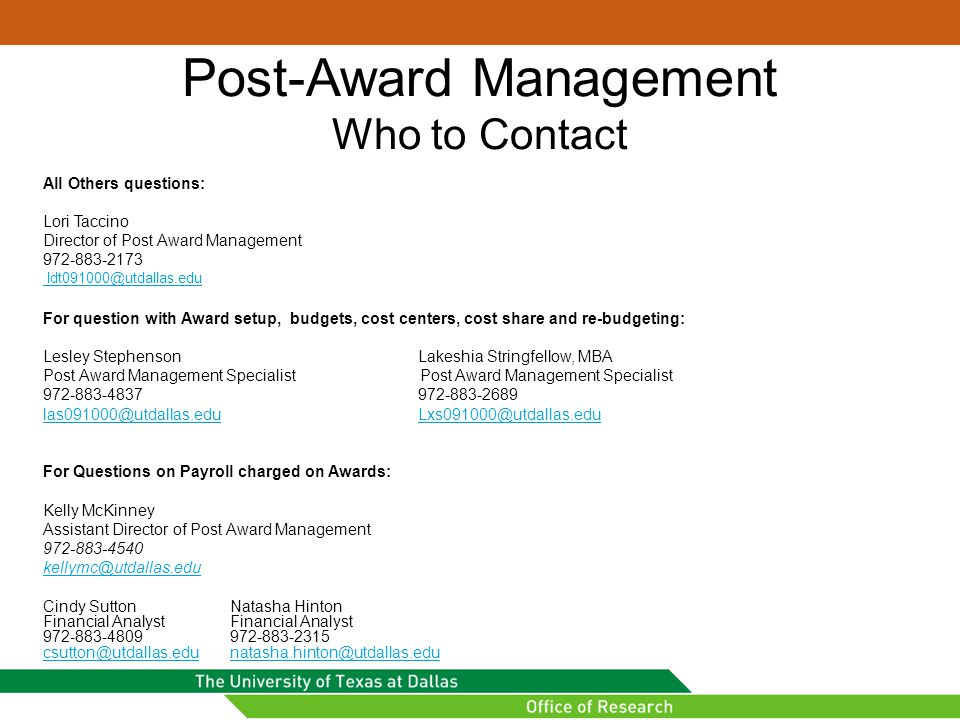 Post-Award Management Who to Contact