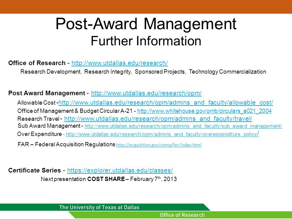 Post-Award Management Further Information