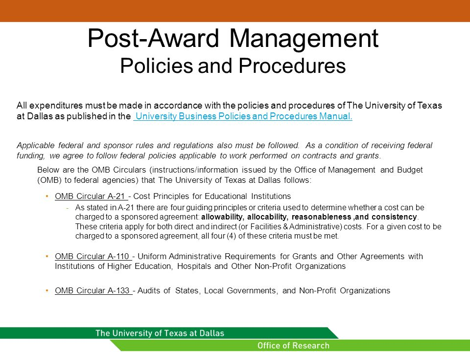 Post-Award Management Policies and Procedures