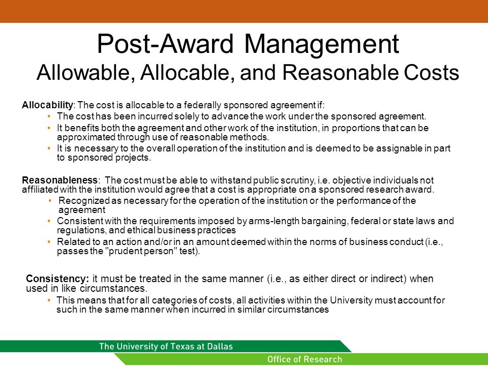 Post-Award Management Allowable, Allocable, and Reasonable Costs