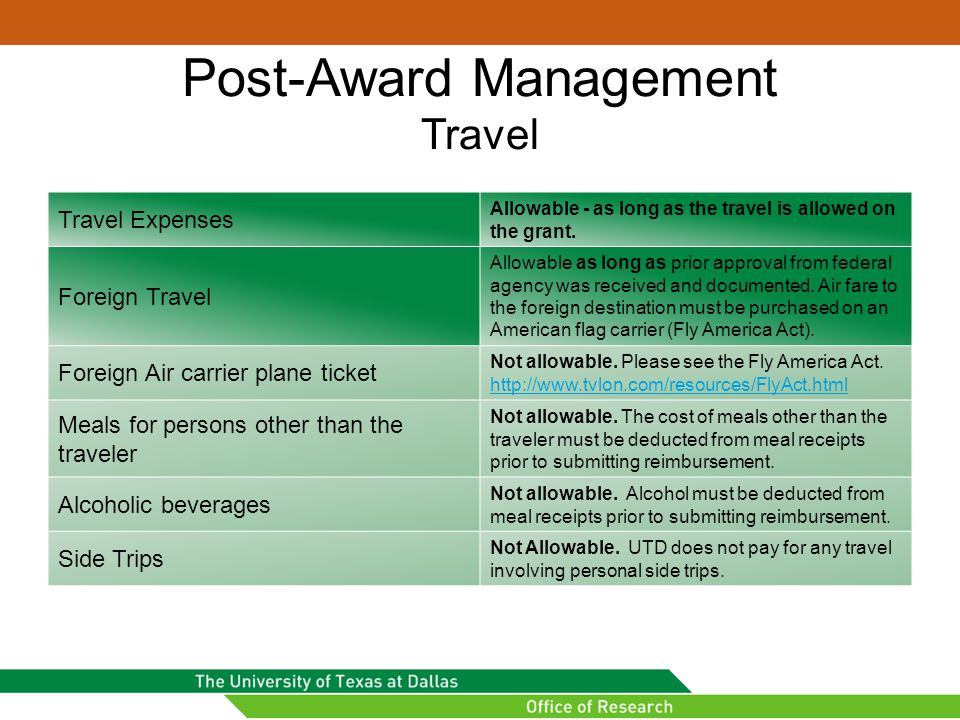 Post-Award Management Travel
