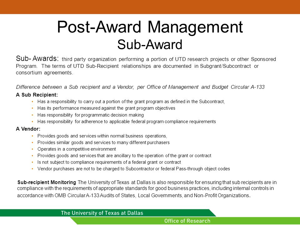 Post-Award Management Sub-Award