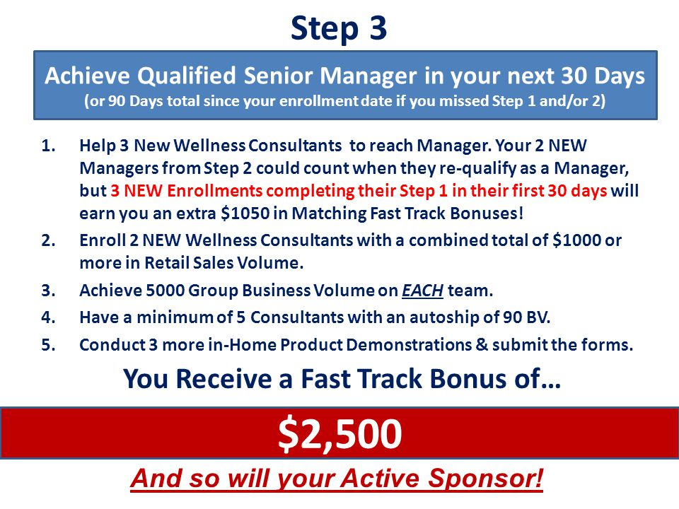 $2,500 Step 3 You Receive a Fast Track Bonus of…