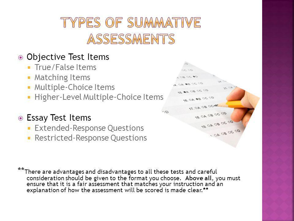 preparing a test true and false essay Multiple choice, true/false and matching tests fall in the former category, completion, short answer and essay tests in the latter the cognitive capabilities required to supply answers are different from those required to select answers, regardless of content.