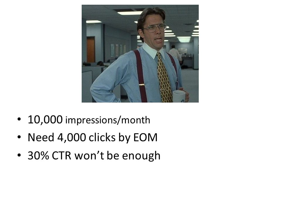 10,000 impressions/month Need 4,000 clicks by EOM 30% CTR won't be enough